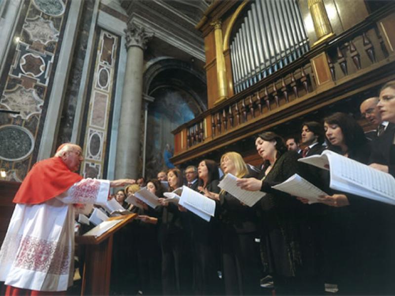 Il Maestro Domenico Bartolucci, Direttore emerito del Coro della Capella Sistina e dell'Accademia Nazionale Santa Cecilia